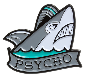 Psycho Shark Enamel Pin