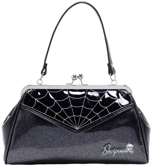 Gray Black Spider Web Purse