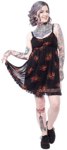 Tattoo Roses Dolly Dress - DeadRockers