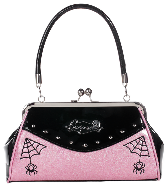 Webbed Widow Purse Pink & Black