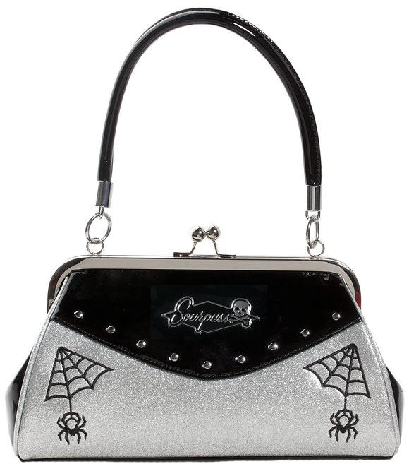 Webbed Widow Purse Silver & Black
