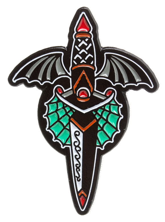 Winged Dagger Enamel Pin