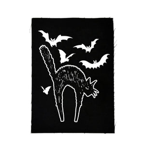 Spooky Vintage Halloween Cats & Bats Cloth Patch