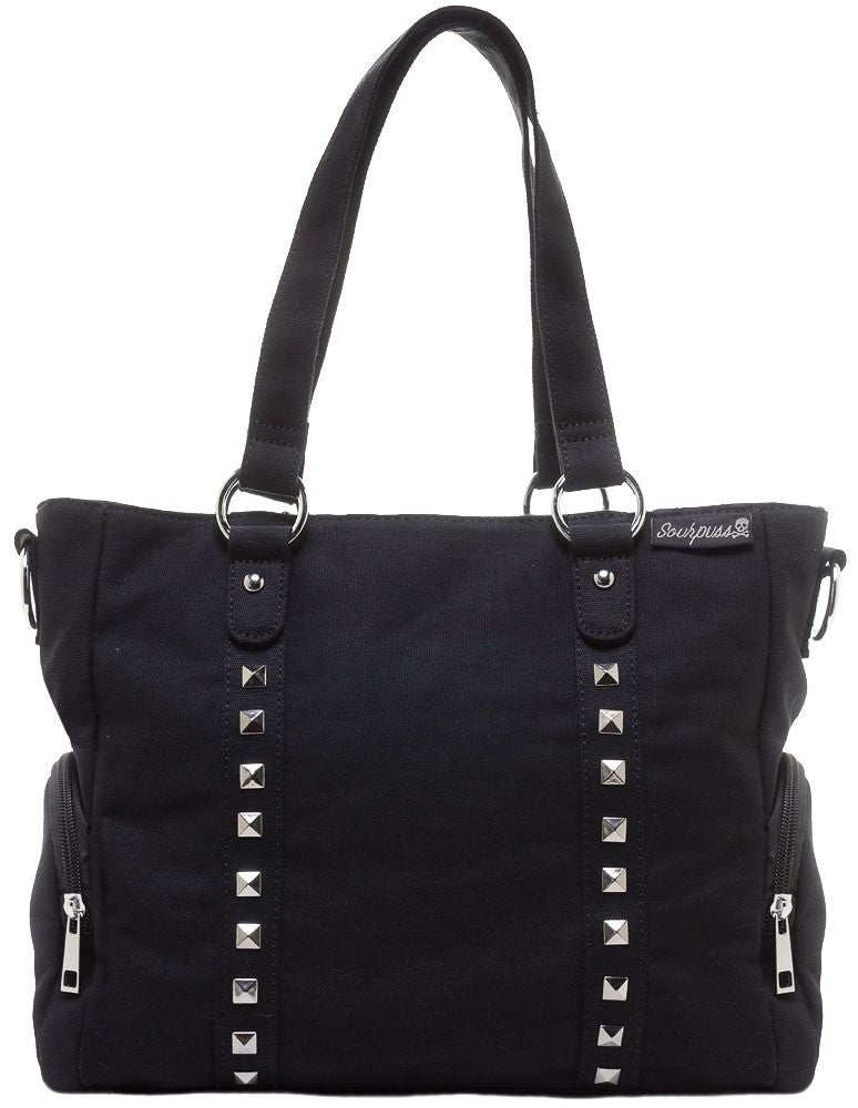 Black Leda Canvas Stud Purse