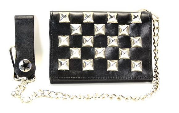 Studded Black Chain Wallet