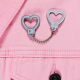 Handcuff Hearts Chain Enamel Pin