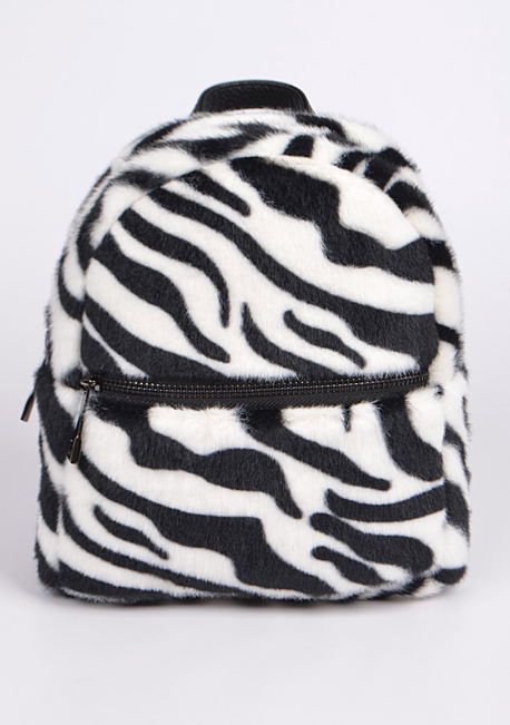 Fuzzy Zebra Mini Back Pack