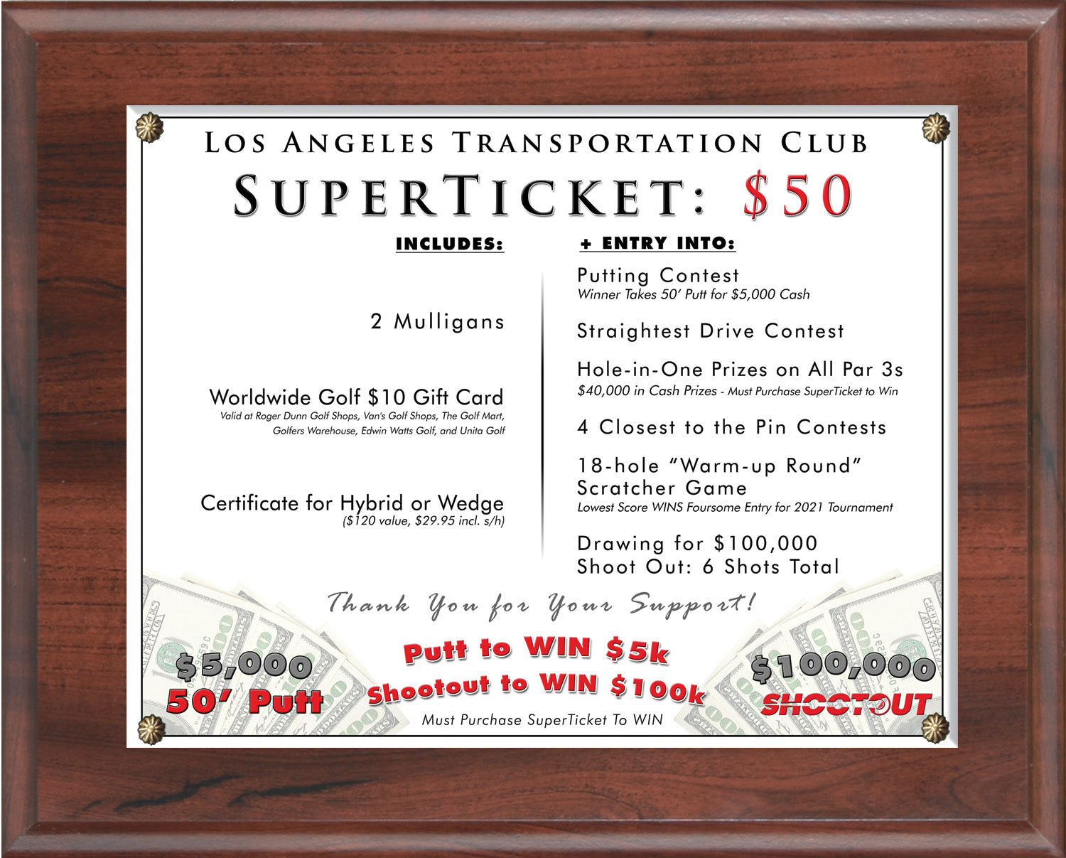 SuperTicket Fundraising Package for Charity Golf Tournaments