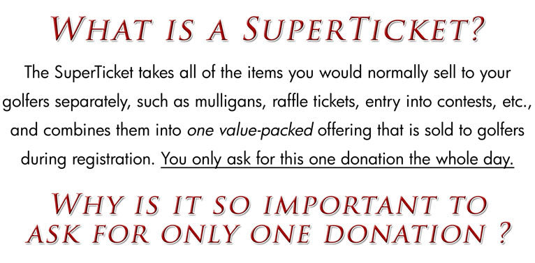 SuperTicket Tournament Fundraising Package what is a SuperTicket
