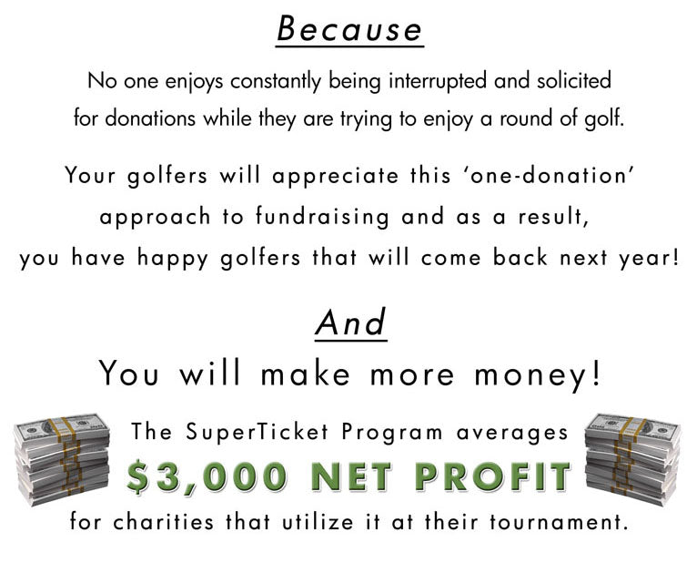 SuperTicket Tournament Fundraising Package average $3,000 Profit for Charity Golf Tournaments