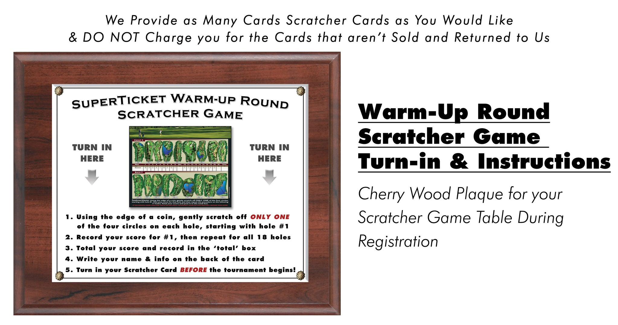 SuperTicket Tournament Fundraising Turn in Cherry Wood Plaque