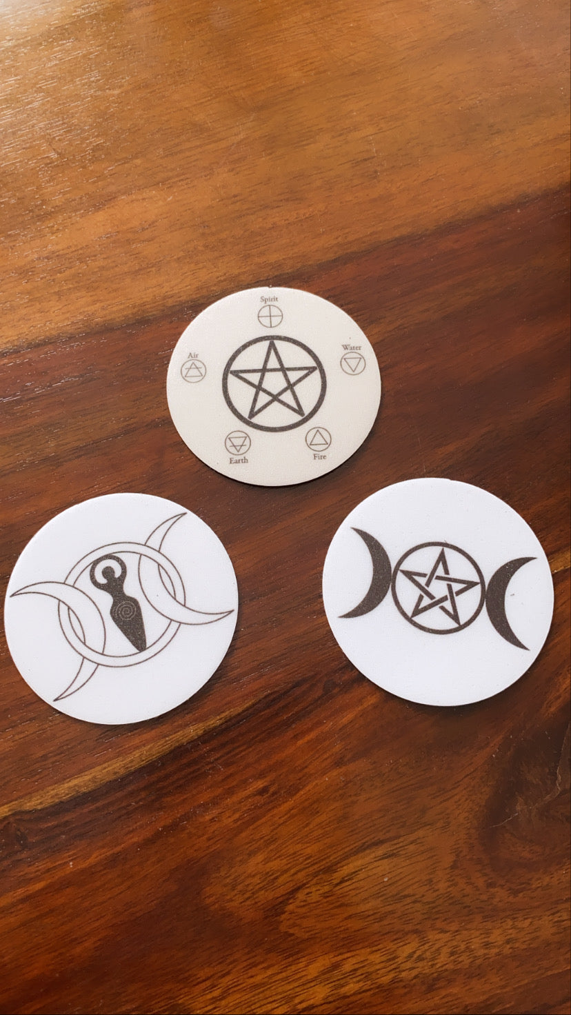 Witchy Magnets - Triple moon goddess - Triple moon pentagram - pentacle - elements, symbol elementals - whychy symbols magnetic altar decor