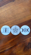 Load image into Gallery viewer, Witchy Magnets - Triple moon goddess - Triple moon pentagram - pentacle - elements, symbol elementals - whychy symbols magnetic altar decor