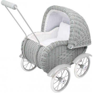 Small foot Dukkevogn i Rattan, Vintage Grey