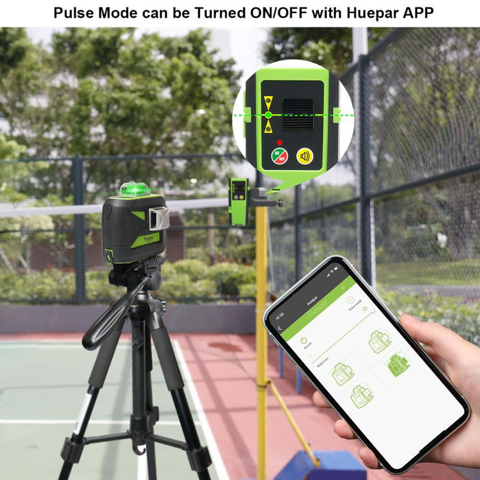 Huepar 3x360 Green Beam 3D Laser Level with Bluetooth Connectivity Self-Leveling Cross Line USB Charge Use Dry & Li-ion Battery