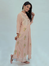 Load image into Gallery viewer, Peach Gota Patti Maxi Dress