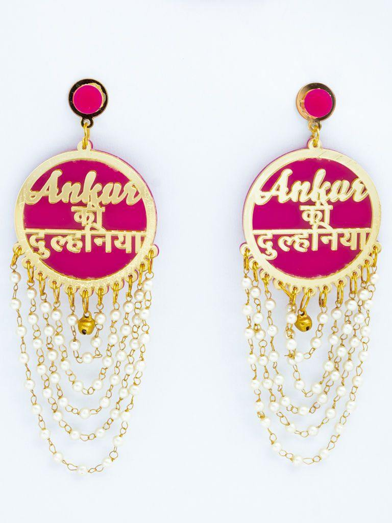 Pink and Gold Ankur Ki Dulhaniya Earrings