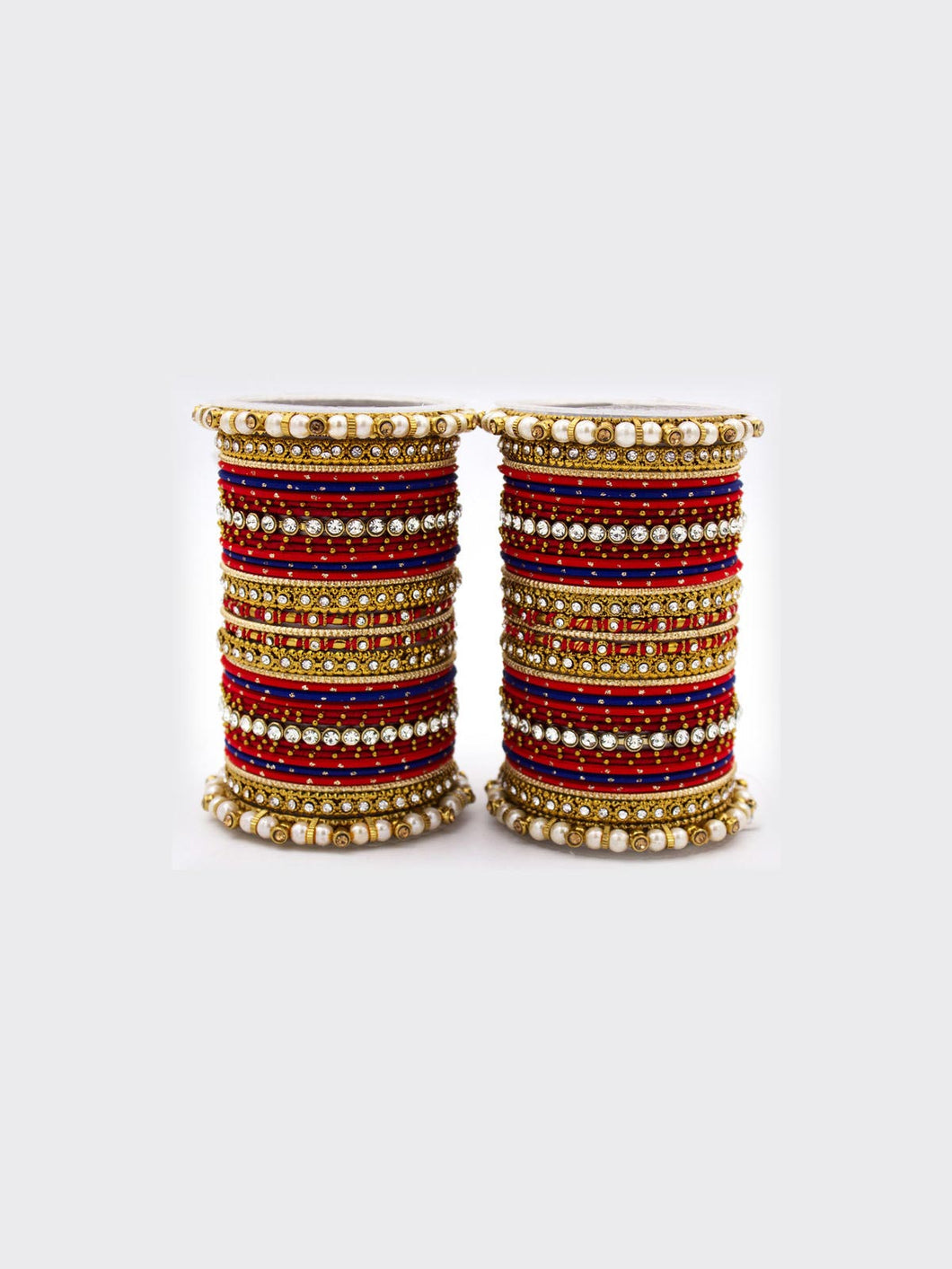Red & Blue Bangle Set with Pearls & Stone Work