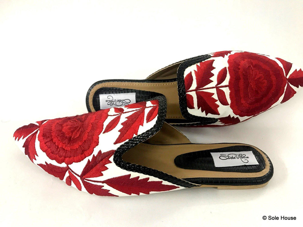 Red Flower Bloom Slip on Loafers