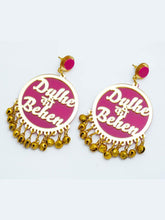 Load image into Gallery viewer, Pink and Gold Dulhe Ki Behan Earrings - The Wedding Brigade