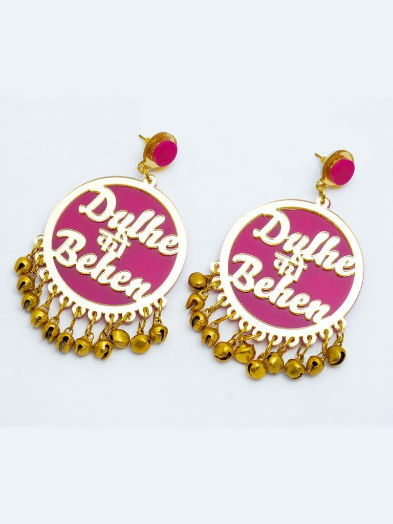 Pink and Gold Dulhe Ki Behan Earrings - The Wedding Brigade