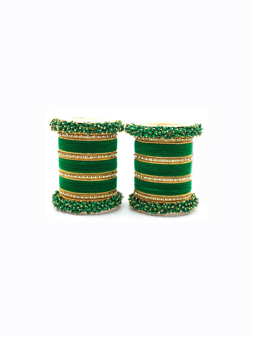 Green Bangle Set with Beaded Work