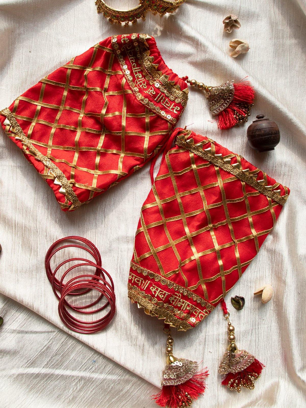 Red Embroidered and Gota Patti Chooda Covers - The Wedding Brigade