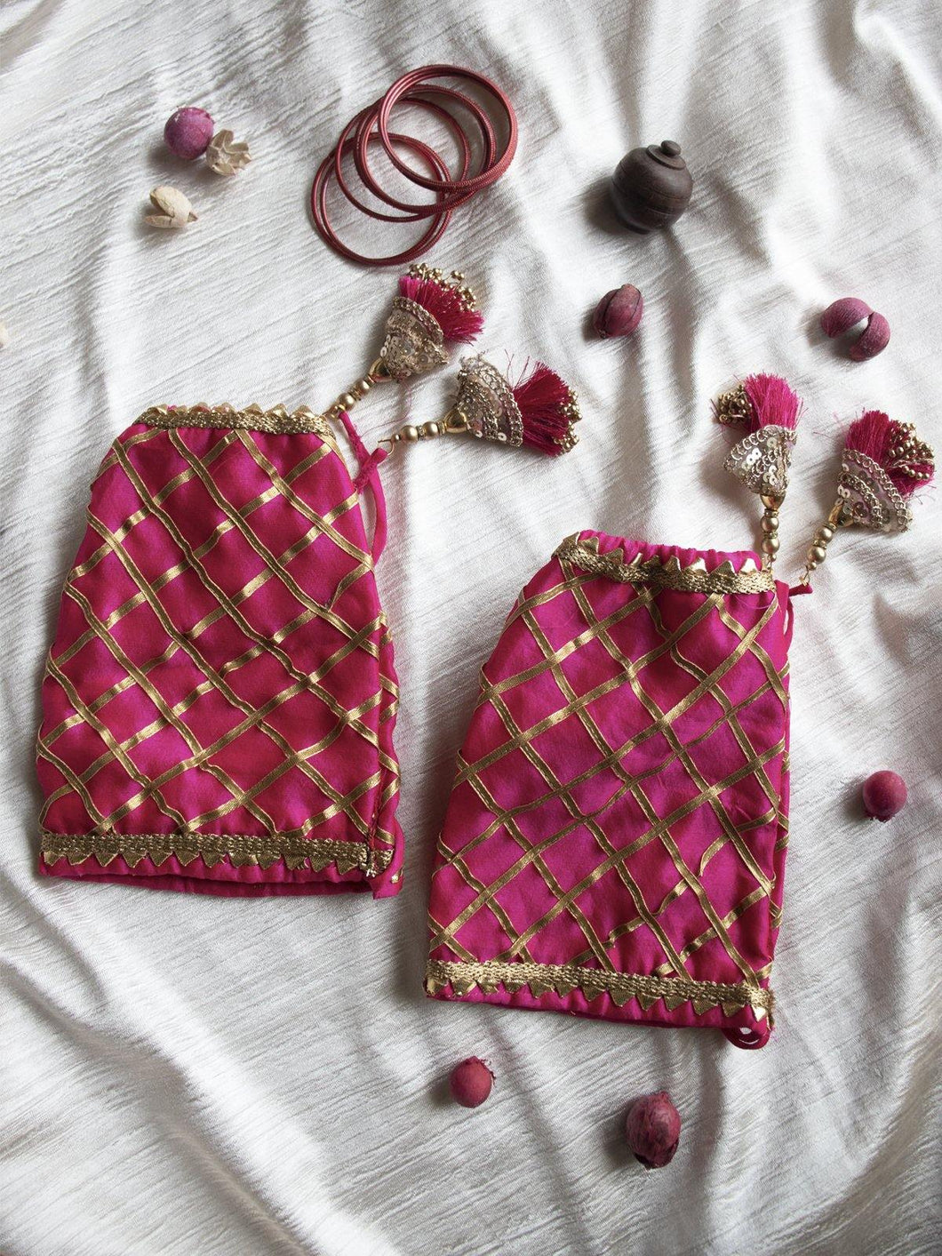 Pink Embroidered and Gota Patti Chooda Covers