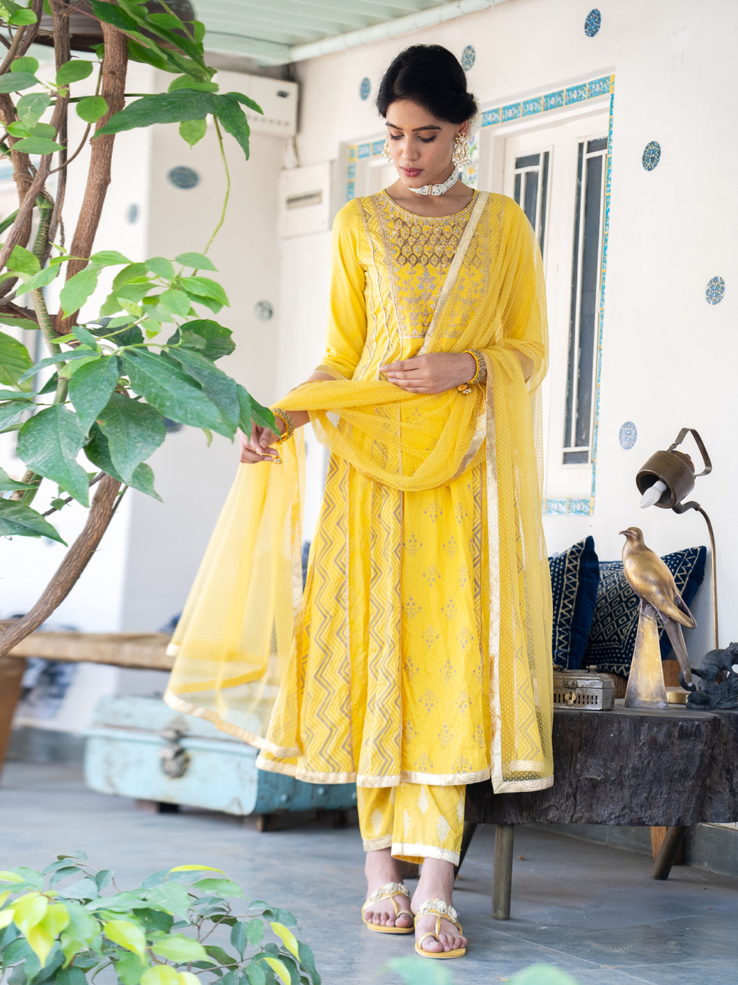 Yellow Hand Block Anarkali Kurta Pant Set