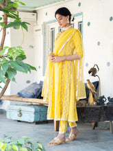 Load image into Gallery viewer, Yellow Hand Block Anarkali Kurta Pant Set