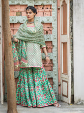 Load image into Gallery viewer, Green Hand Blocked Kurta Gharara Set