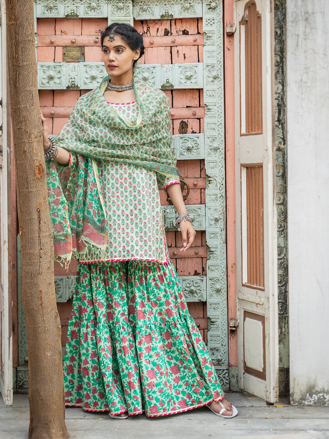 Green Hand Blocked Kurta Gharara Set