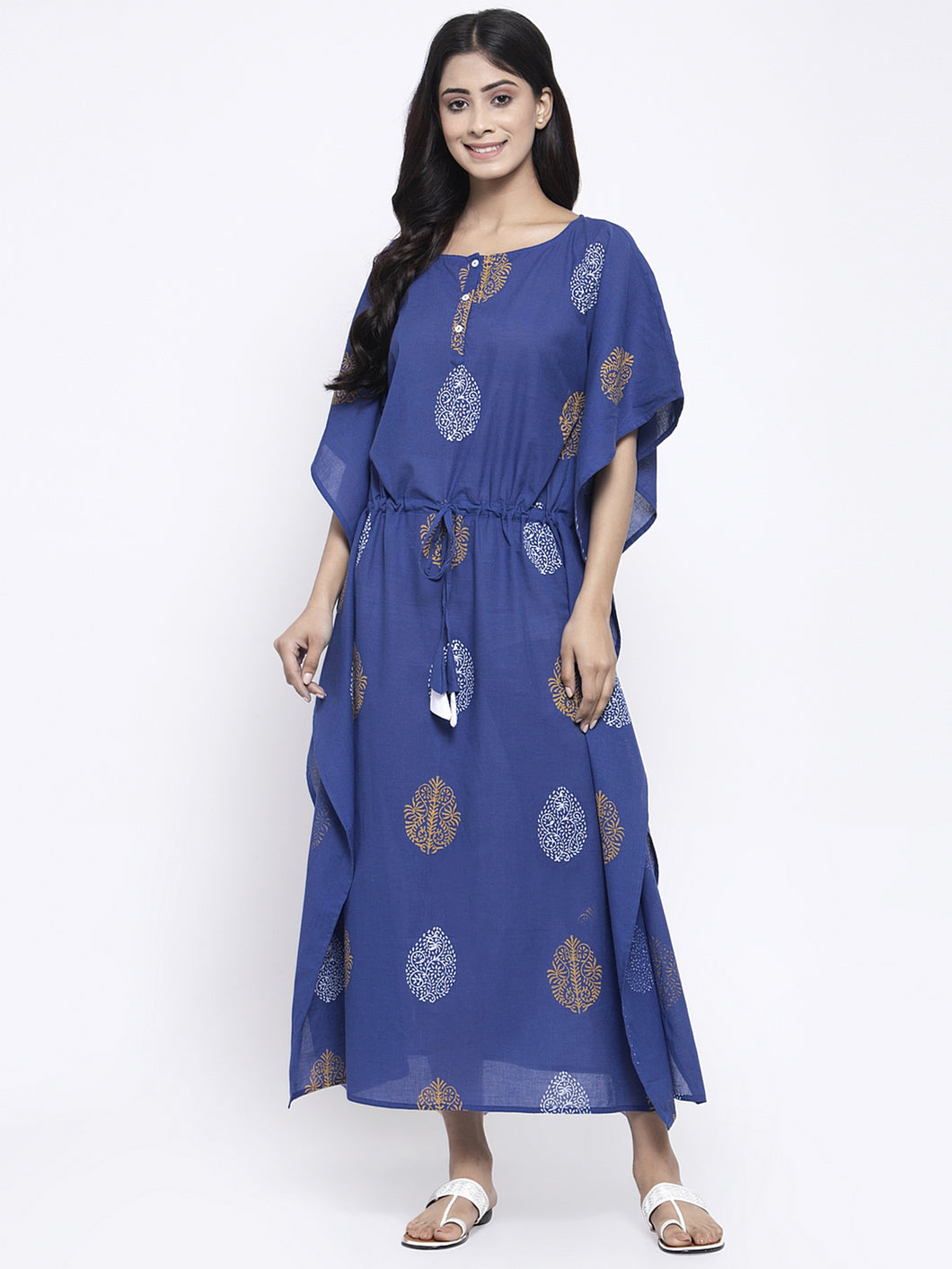 Blue and Yellow Hand Block Kaftan Dress