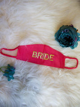 Load image into Gallery viewer, Set of 2 - Navy Blue & Pink Embroidered Bride Groom Masks