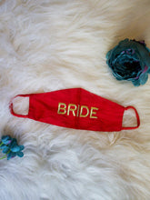 Load image into Gallery viewer, Set of 2 - Mint Green & Red Embroidered Bride Groom Masks