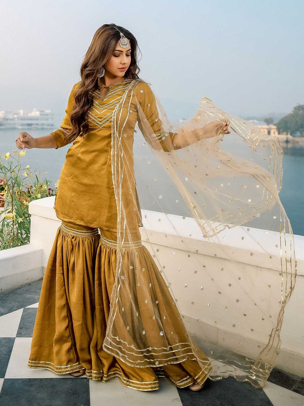 Gold Solid Kurta Sharara Set