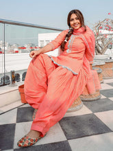 Load image into Gallery viewer, Peach Gota Patti Kurta Patiyala Set