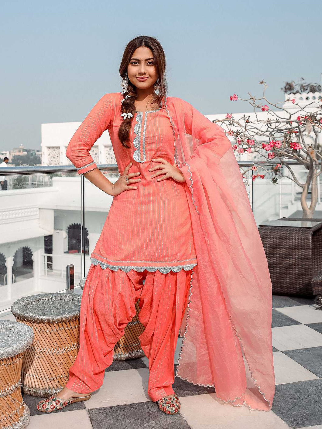 Peach Gota Patti Kurta Patiyala Set