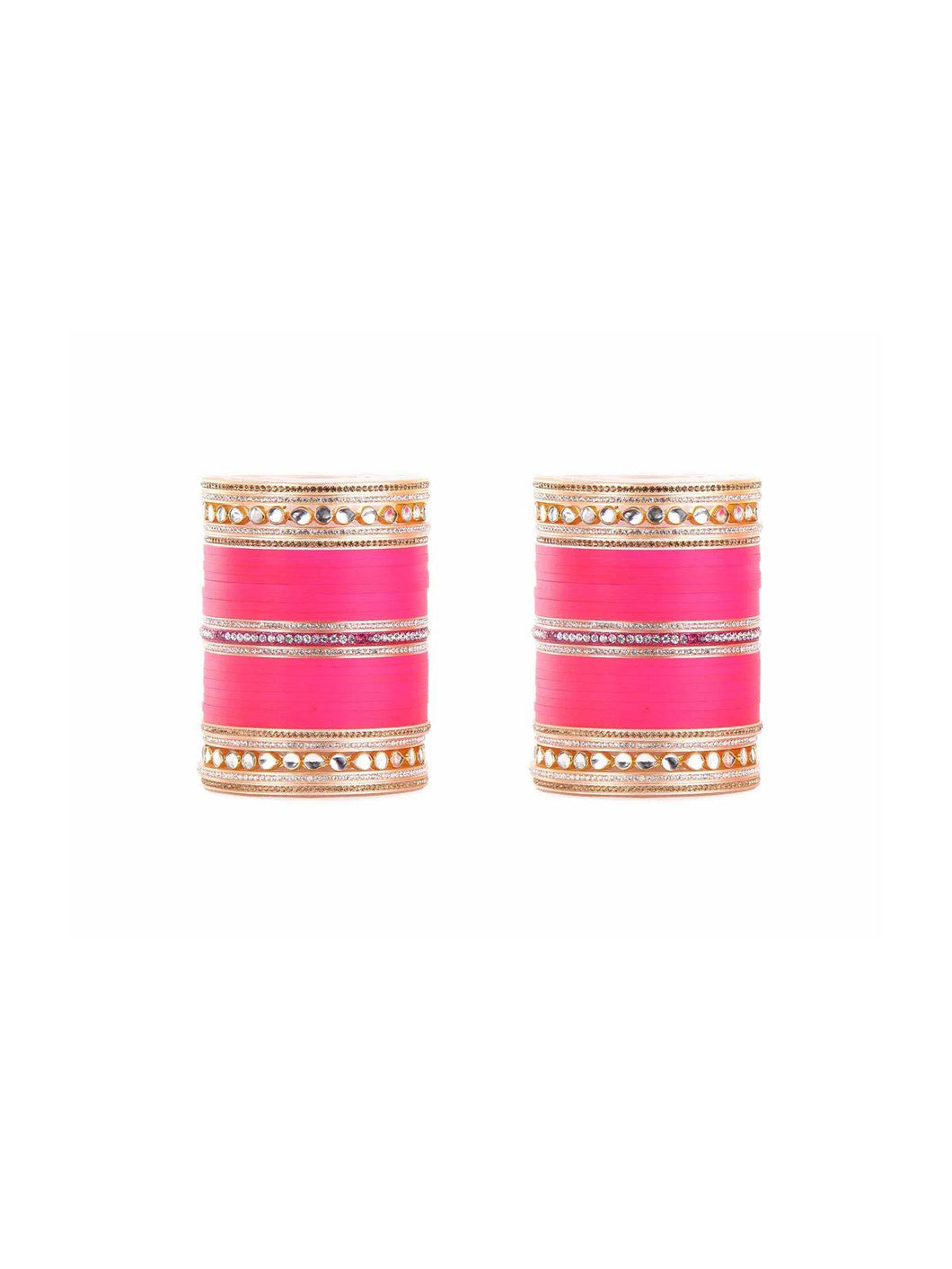 Fuchsia Wedding Chura with Mirror Kundan