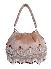 Load image into Gallery viewer, Beige Pearl Embroidered Potli Bag