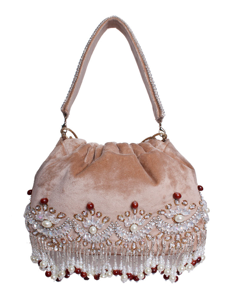 Beige Pearl Embroidered Potli Bag