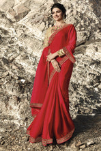 Load image into Gallery viewer, Alluring Red Saree with Semi-Stitched Blouse