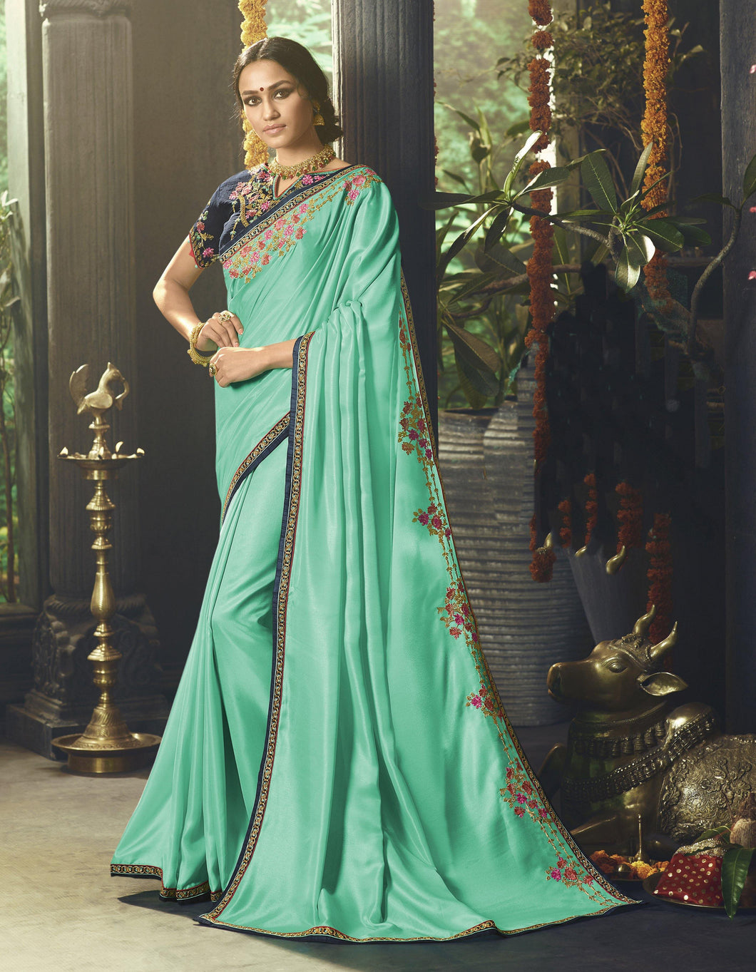 Alluring Turquoise Saree with Unstitched Blouse - The Wedding Brigade