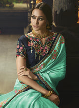 Load image into Gallery viewer, Alluring Turquoise Saree with Unstitched Blouse - The Wedding Brigade