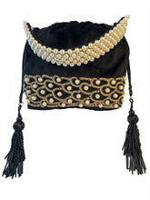 Load image into Gallery viewer, Black Pearl Embroidered Potli Bag