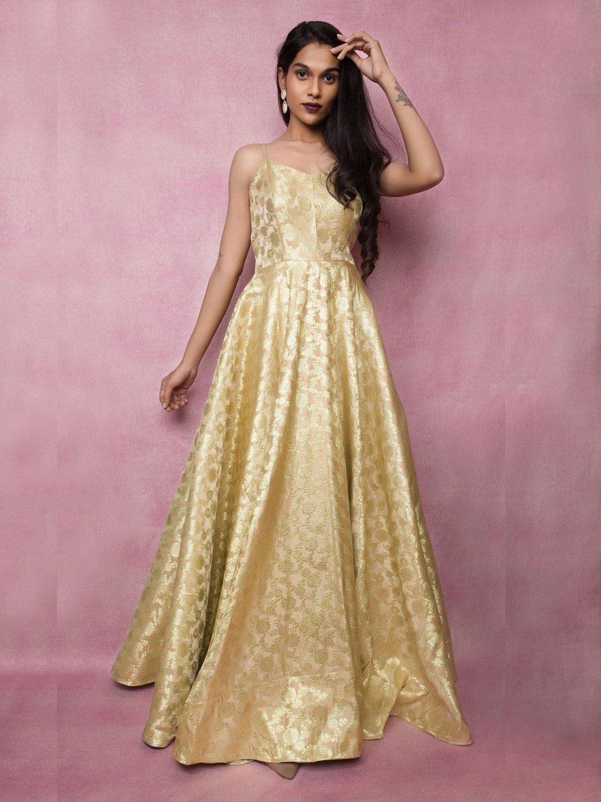 Beige Brocade Zari Gown - The Wedding Brigade