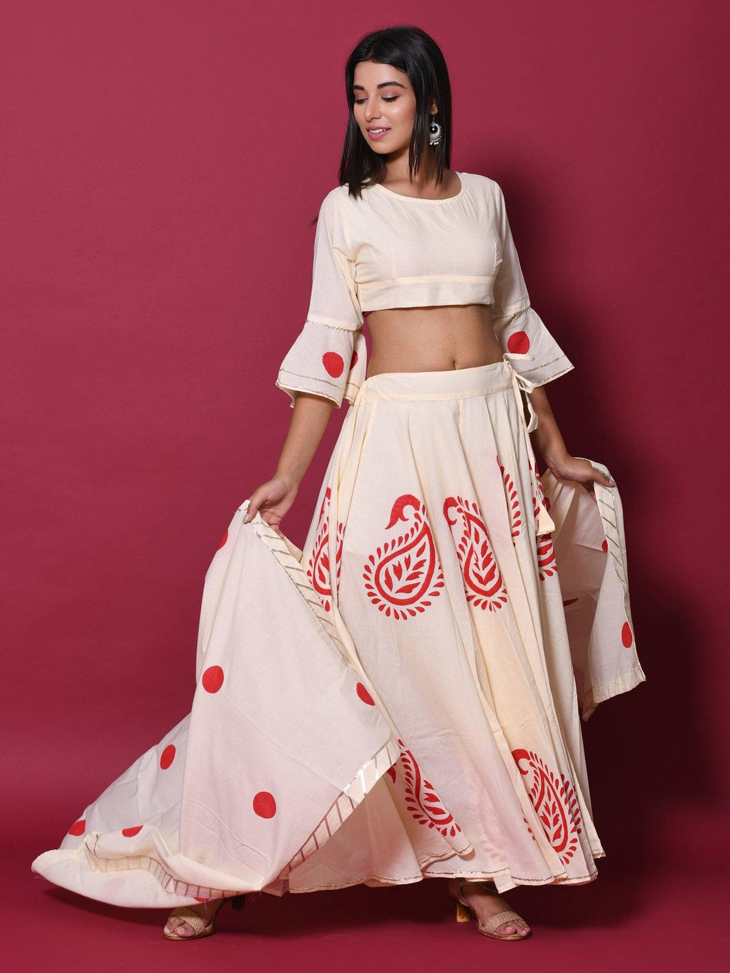 Beige Hand Block Lehenga Choli Set