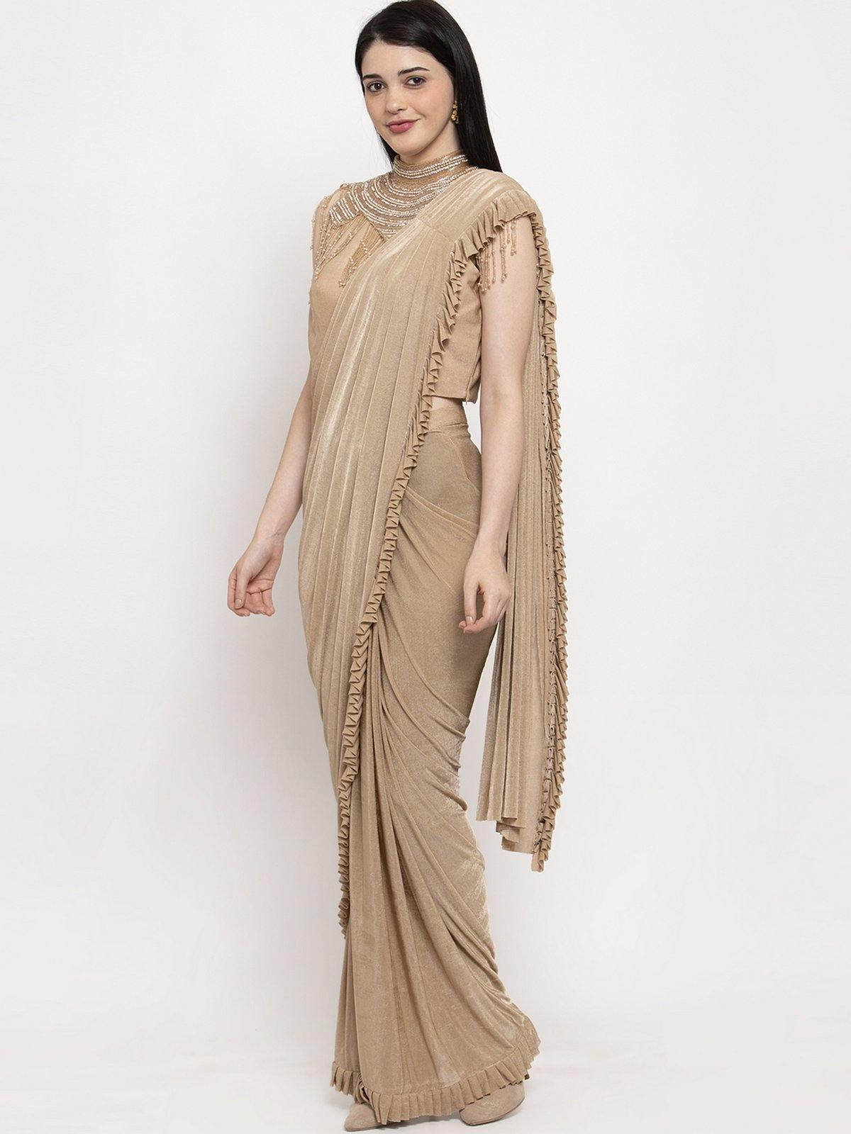 Beige Solid Saree Set - The Wedding Brigade