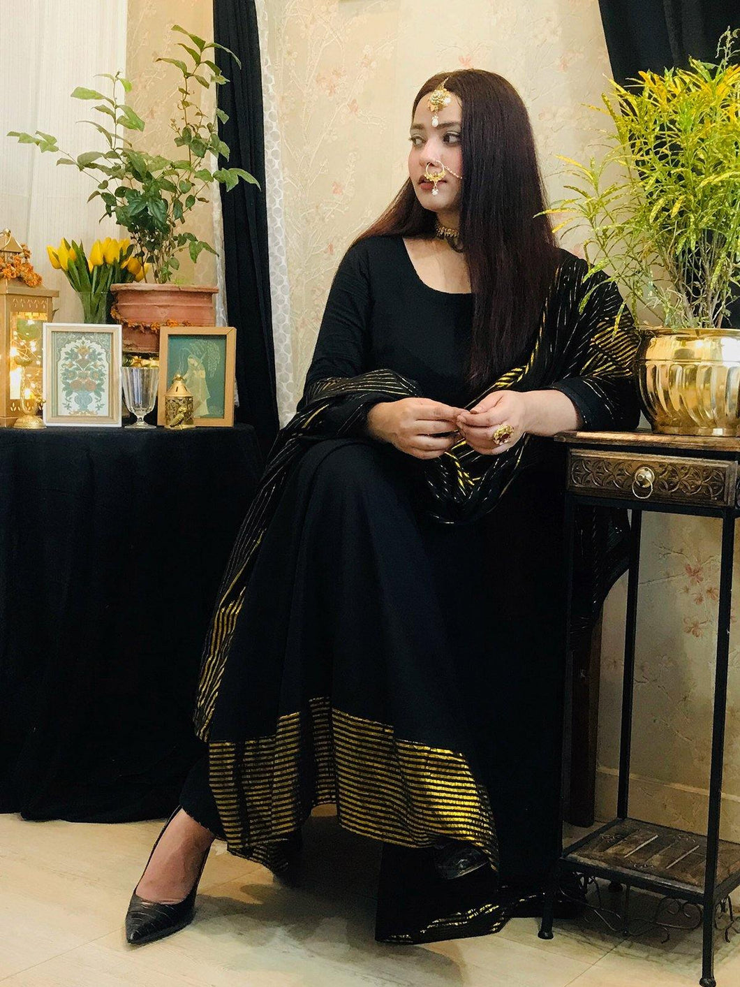 Black Anarkali Kurta Set Set with Tassels - The Wedding Brigade