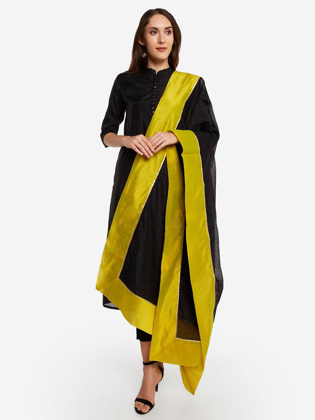 Black and Green Solid Dupatta